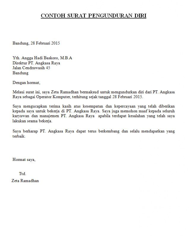 Contoh membuat surat izin pengunduran diri
