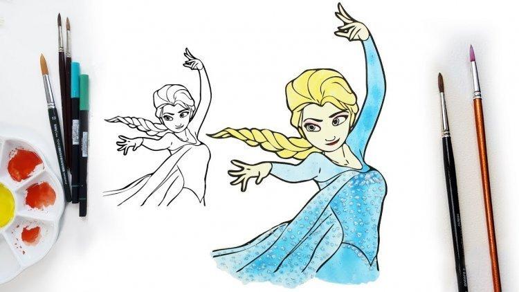 Belajar mewarnai Fozen dan Elsa