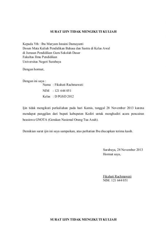 Surat Izin Tidak Masuk Kuliah