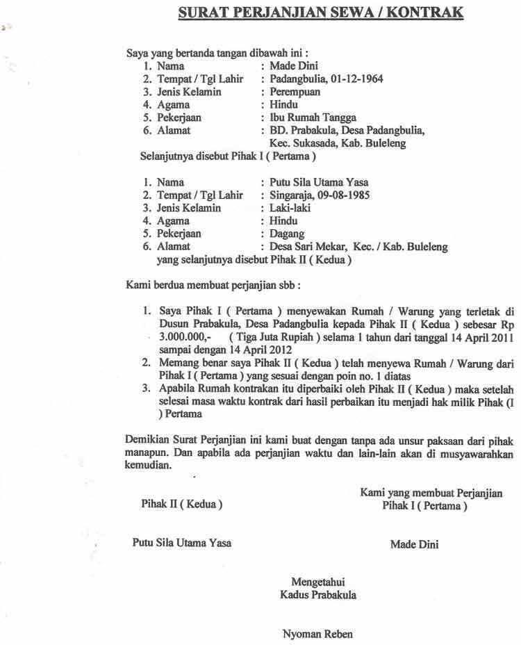 Contoh Surat Perjanjian Jual Kontrakan
