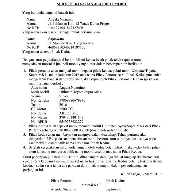 Contoh Surat Perjanjian Jual Mobil