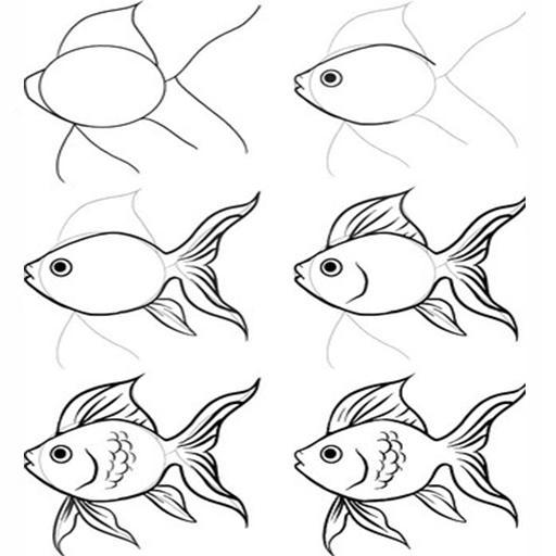 Cara Menggambar Ikan Cupang
