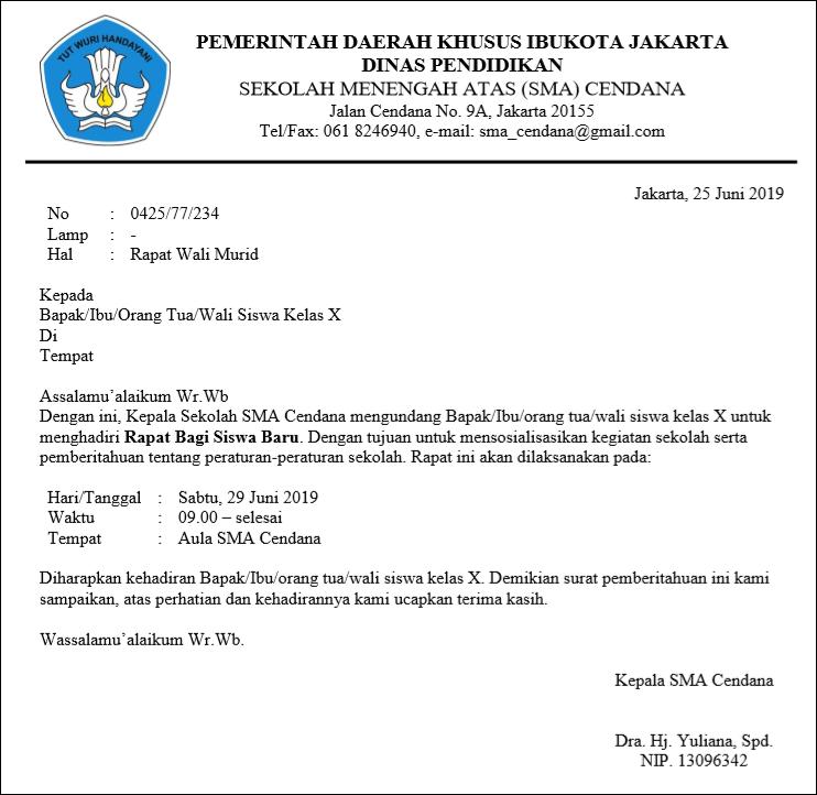 Contoh Surat Dinas Terbaru Contoh Surat Dinas Petugas