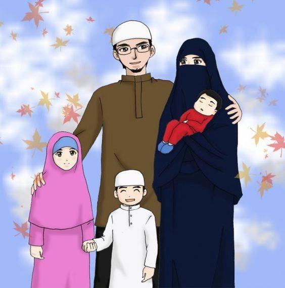 Gambar Kartun Keluarga Islami Bercadar