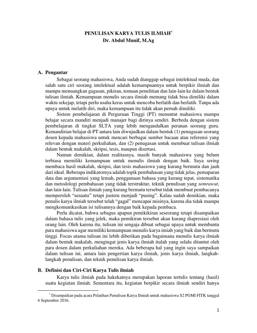 Kumpulan Contoh Artikel Ilmiah Pdf Karya Tulis Ilmiah Paling Lengkap