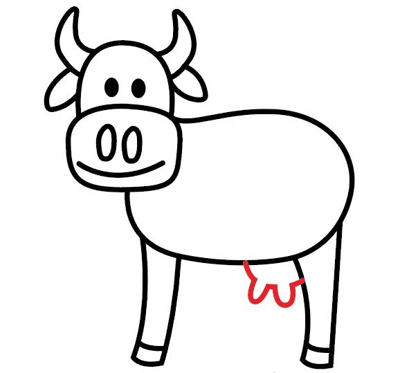 Cara Menggambar Sapi Yang Mudah 3